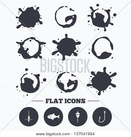 Paint, coffee or milk splash blots. Fishing icons. Fish with fishermen hook sign. Float bobber symbol. Smudges splashes drops. Vector