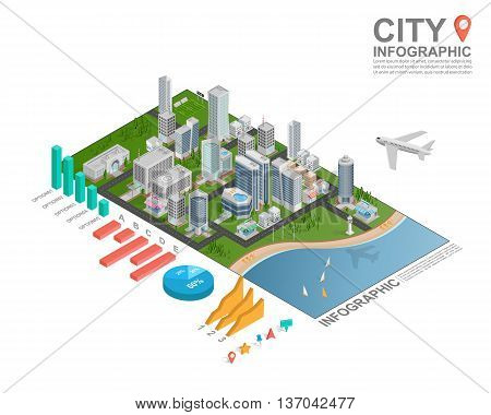 Set of isometric city infographic on white background . vector