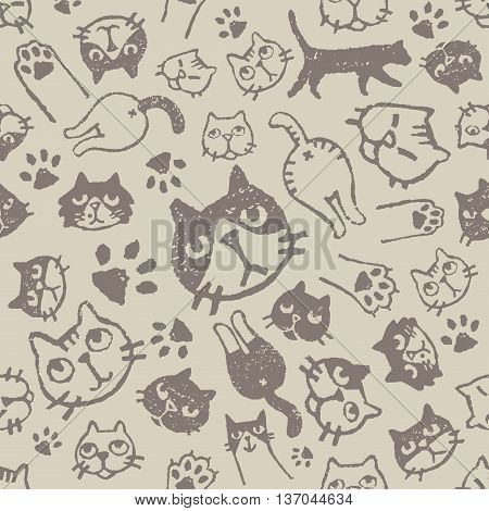 Cat pattern with various faces paws and asses