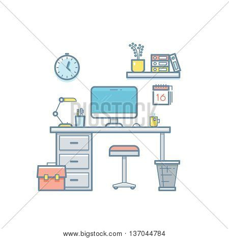 Workspace with desktop computer. Web coder workplace tools, software equipment, workspace for developer thin line flat vector interior illustration