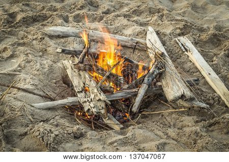 A small fire on the sandy river bank close-up