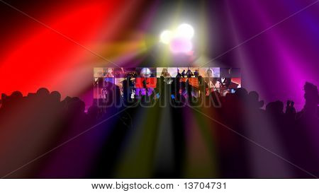 Animation showing various people dancing against a screen in high definition