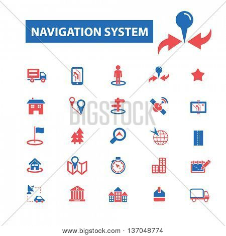 navigation system, location, map, direction, route, car logistics, travel, positioning, compass, cartography, road, journey, searching icons, signs vector concept icons
