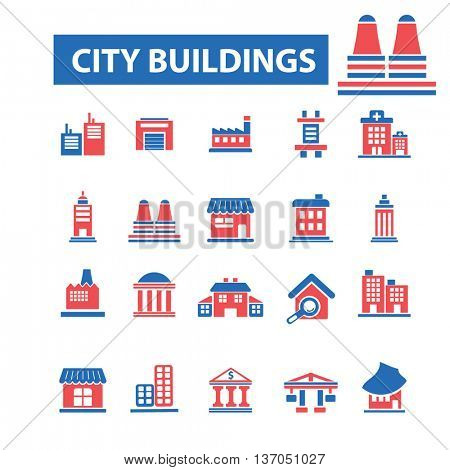 city, building, house, home, city, urban, real estate, suburb, downtown, mall, cityscape, skyscraper, architecture, factory, shop, construction, residential icons, signs concept vector