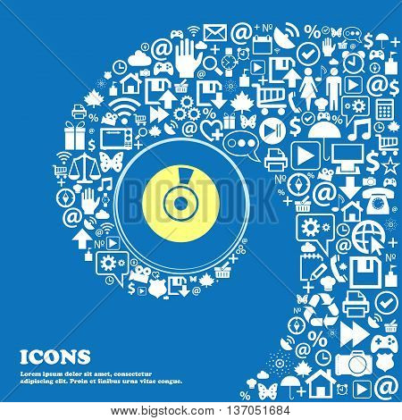 Cd Or Dvd Icon Sign . Nice Set Of Beautiful Icons Twisted Spiral Into The Center Of One Large Icon.