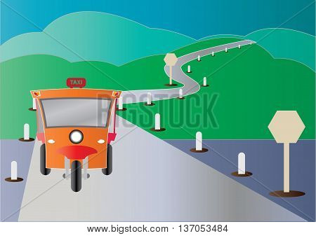 Modern design of Tuktuk with road from mountain