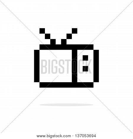 simple 8bit tv black icon. concept of broadcasting, videogame, announcement, equipment, home electronics. isolated on white background. pixelart style modern logo design editable vector illustration