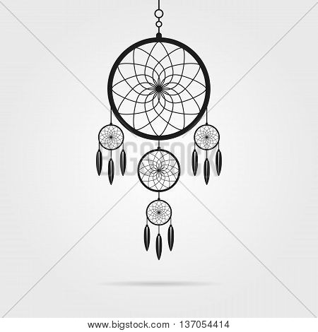 black dream catcher icon with shadow. concept of handmade, amulet, indigenous religion, slumber, hipster souvenir, nightmare, magical mascot, folk. flat style modern logo design vector illustration