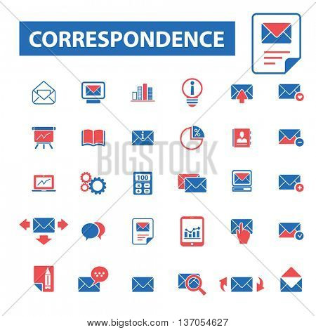 correspondence,post, direct mail, email marketing, correspondence, communication, newsletter, answer, information, contact, receive message icons, signs vector