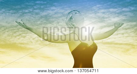 Enlightenment with Woman Holding Arms Out Happily 3D Render