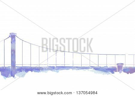 The Bridge. Letter Paper, Notebook Cover Background, Watercolor Style Digital Artwork
