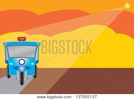 Modern design of Three wheel Motor or Tuktuk with road from mountain season colour of mountain