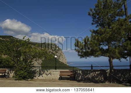 Playground with benches and sea views in the Church of foros in the Crimea
