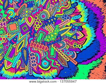 Doodle Abstract Ethnic Elements Trendy Summer Background 1