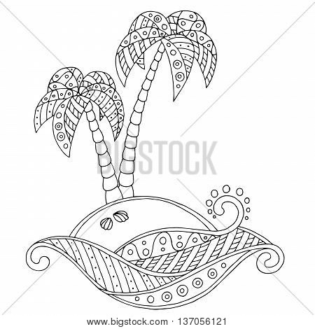 Island pattern abstract black white doodle illustration vector
