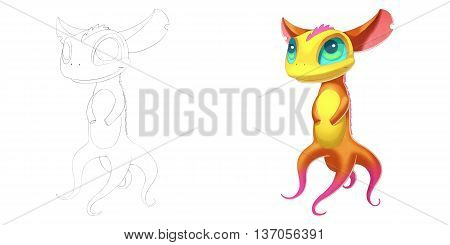 Smart Octopus Fox Creature. Coloring Book, Outline Sketch, Monster Mascot Character Design isolated on White Background