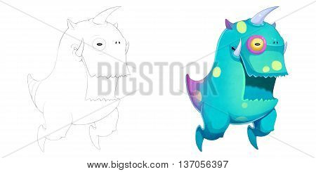 Big Mouth Unicorn and Teeth Creature. Coloring Book, Outline Sketch, Monster Mascot Character Design isolated on White Background