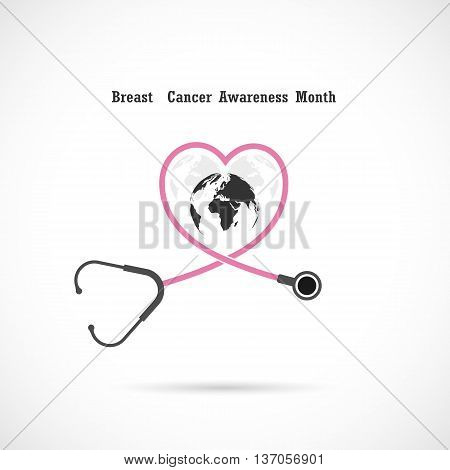 Breast cancer awareness logo design. Breast cancer awareness month icon.Realistic pink ribbon. Vector illustration