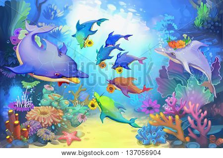 Happy Father's Day in the Sea by Dolphins. Child Story Digital CG Artwork, Concept Illustration, Realistic Cartoon Style Background