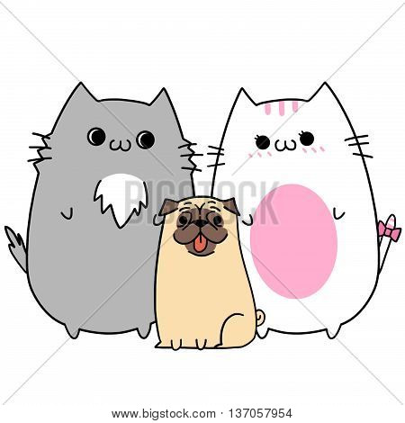 Two Lover Cats' Happy Memories: Get a Pet Dog. Creative Idea, Innovative art, Concept Illustration, Greeting Card, Cartoon Style Artwork