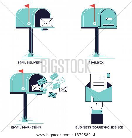 Mailbox illustration, Email marketing, mail icon, flat design