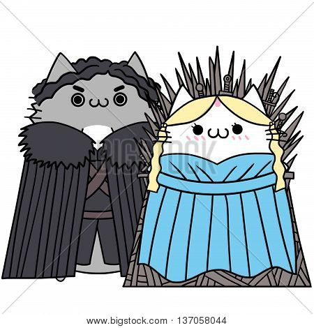 Two Lover Cats' Memories: Costume Dress up as King and Queen. Creative Idea, Innovative art, Concept Illustration, Greeting Card, Cartoon Style Artwork