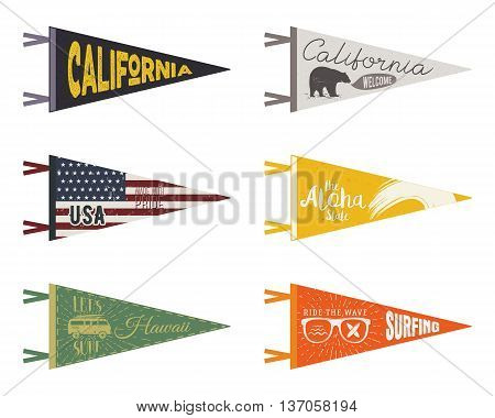 Set of adventure pennants. Pennant travel flags design. Vintage surf, caravan, rv templates. USA, california pennant with summer camp symbols trailer, signpost, anchor, bear. Summer hawaii old style.