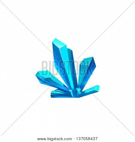Blue Crystal Cluster. Video Game Assets, Objects; Story Card Illustration Pieces isolated on White Background
