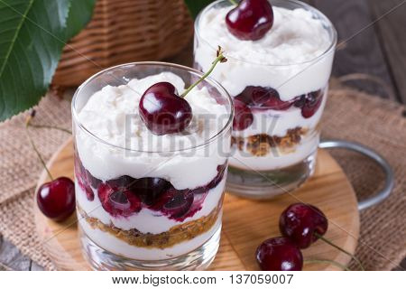 Dessert with a cherry on a wooden board
