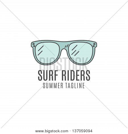 Minimalistic surfing logo concept. Summer Thin line flat tropical design. Lineart Surfer gear badge - glasses. Linear tourist templates, isolated. Surfboard line art equipment emblem.