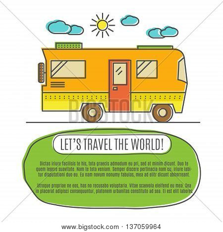 Thin line flat travelling concept. Design of camper rv car . Modern thin line travel vector illustration concept, isolated on white background. Let's Travel the world. Colorful palette.