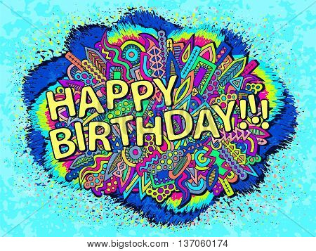 Doodles Happy Birthday Abstract Elements Ornament
