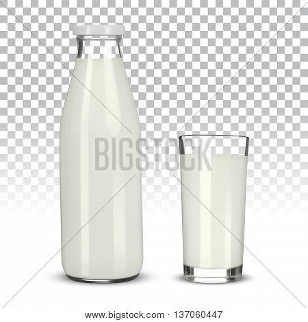 Glass of milk and bottle on transparent background, vector illustration.