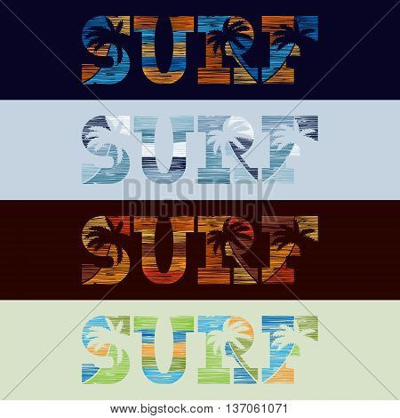 Set of Surfing typography posters in grunge style. Vintage concept for print production. T-shirt fashion Design. Template for postcard banner flyer.