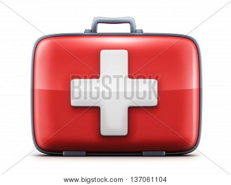 first-aid kit on white background (done in 3d rendering)