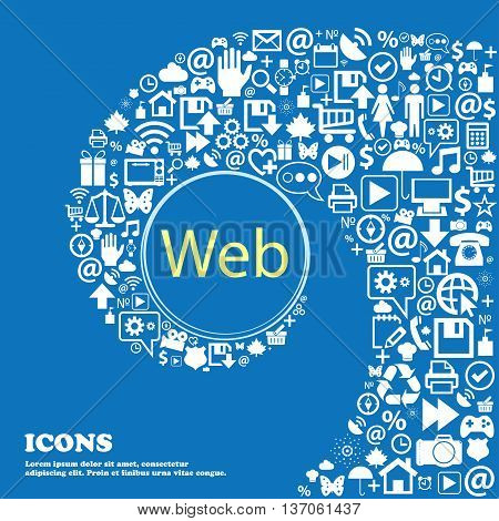 Web Sign Icon. World Wide Web Symbol . Nice Set Of Beautiful Icons Twisted Spiral Into The Center Of