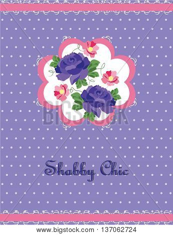 Shabby Chic style card with peony flowers. Vector