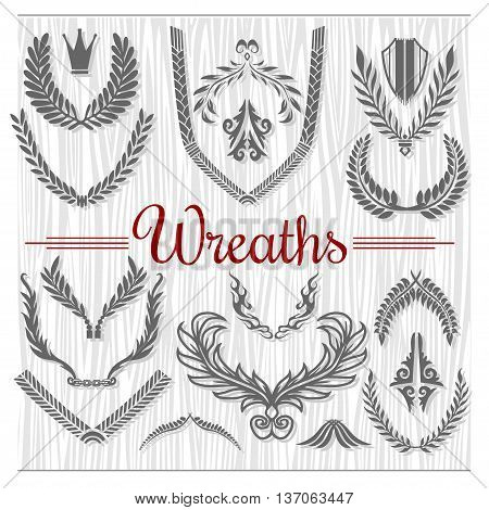 Set of Retro Wreaths on wooden background for Award Achievement Heraldry Nobility. Good for Vintage Labels