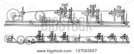 Stranding machine wire 37 and wire 127, vintage engraved illustration. Industrial encyclopedia E.-O. Lami - 1875.