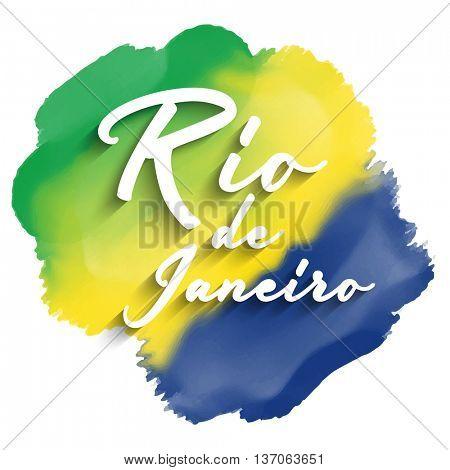 Rio de Janeiro text on a watercolor background