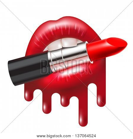 Red lipstick in the open mouth with glossy melted lips. illustration