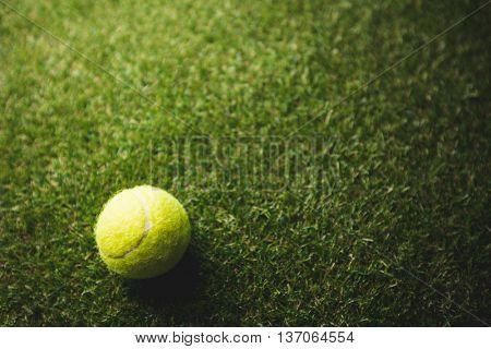 Close up of tennis ball on grass
