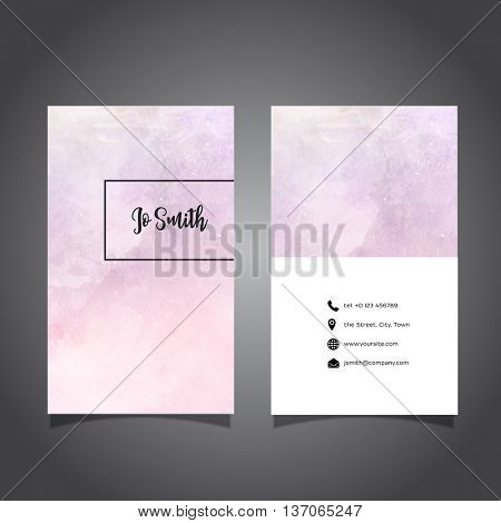 Business card with a pastel watercolor design