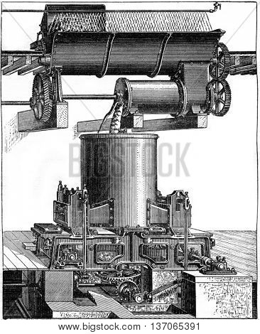 Press mixer, vintage engraved illustration. Industrial encyclopedia E.-O. Lami - 1875.