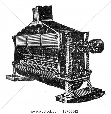 Device to dry spent grain, vintage engraved illustration. Industrial encyclopedia E.-O. Lami - 1875.
