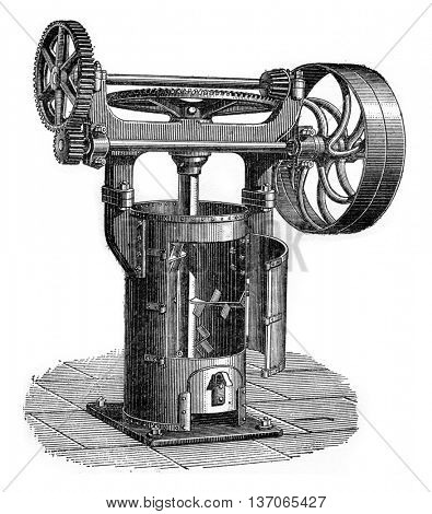 Vertical mixer semi-soft ground, vintage engraved illustration. Industrial encyclopedia E.-O. Lami - 1875.