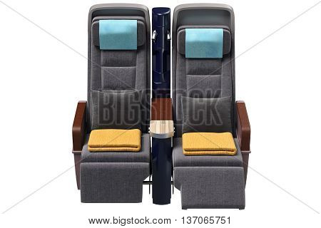 Aircraft chairs comfortable with leather armrests, front view. 3D graphic