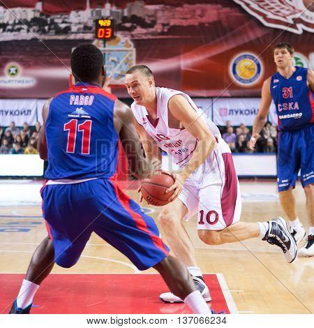 Bc Krasnye Krylia Forward Yuri Vasilyev (10) With Ball
