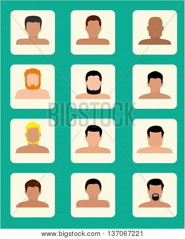 Set of close up men portraits isolated vector illustrations. Avatars collection set, flat style