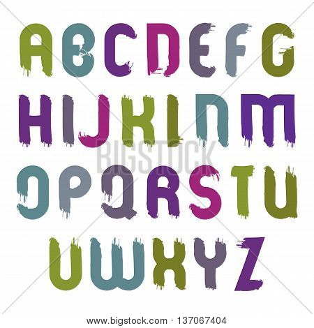 Vector bright alphabet capital letters set hand-drawn colorful script smeared drop caps drawn with ink brush cartoon multicolored acrylic font.